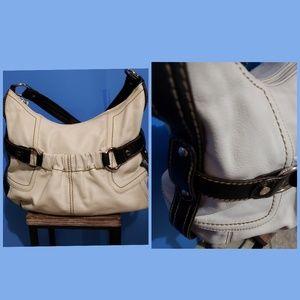 Tignanello Cream & Brown Leather Hobo Bag
